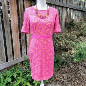 Maggie London Lined Eyelet Dress w Ribbon Accents!